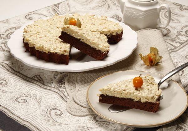 tarte de amendoas com chocolate