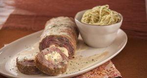 Rolo de carne, mortadela e queijo