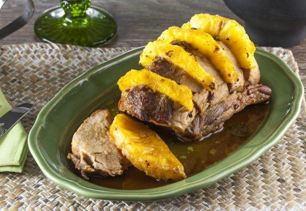 lombo de porco com ananas e manjericao