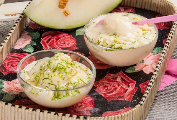 mousse de melão, lima e hortelã