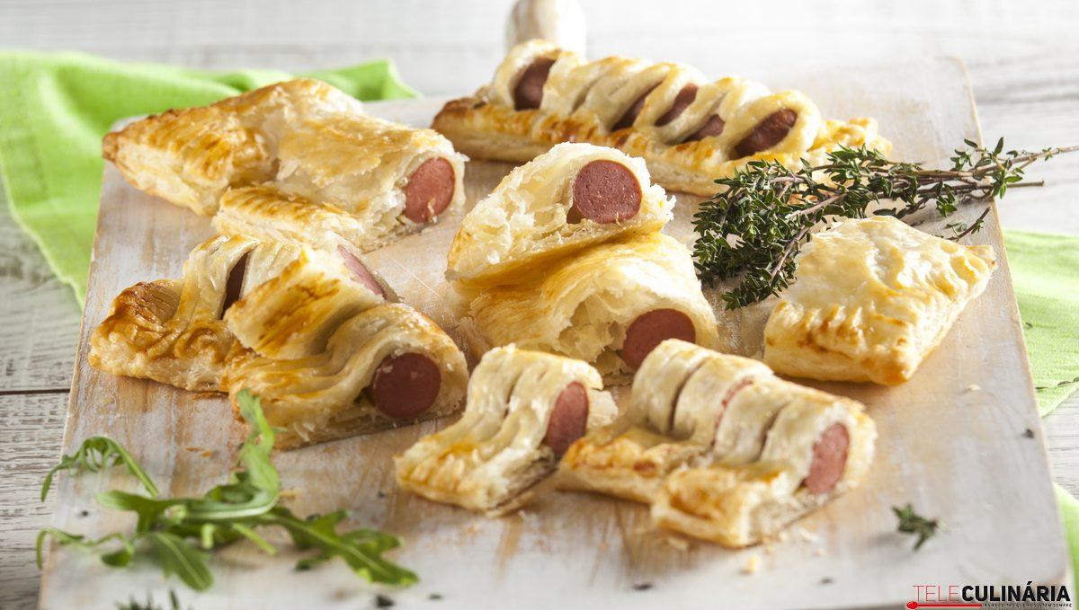 folhadinhos de salsicha com tomilho limao