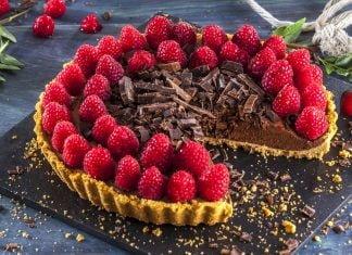 tarte de chocolate com framboesas