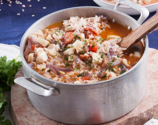 arroz de pota com chourico
