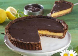 tarte de trufa de chocolate e lemon curd