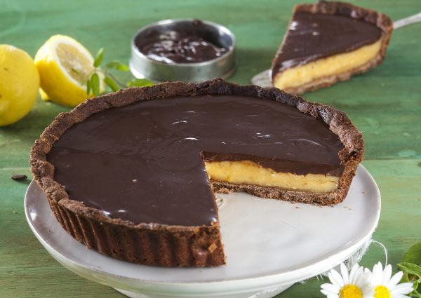 tarte de trufa de chocolate e lemon curd