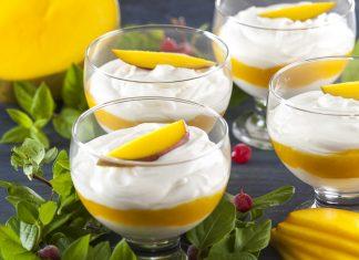 Espuma de iogurte e manga