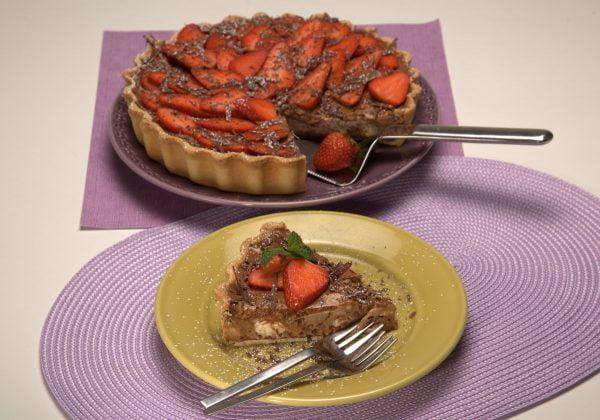 tarte marmoreada com morangos