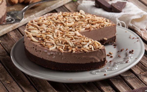 cheesecake de chocolate e amendoa