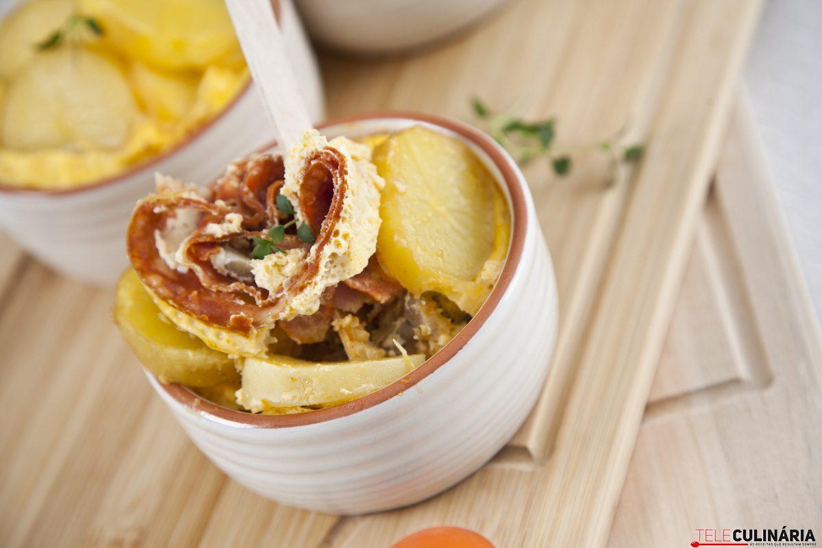 quiche de batata com cogumelos e presunto