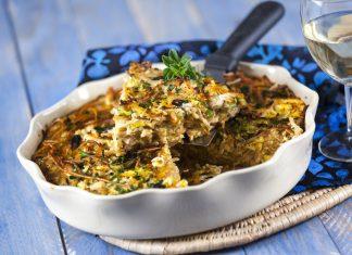 Tarte de esparguete integral com frango e legumes