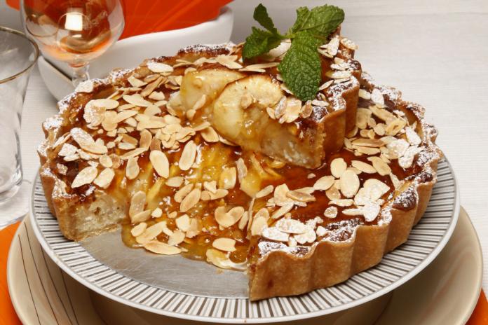 tarte de maçã com compota de meloa
