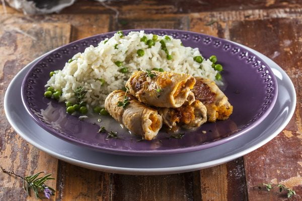 Bifes de frango recheados com farinheira