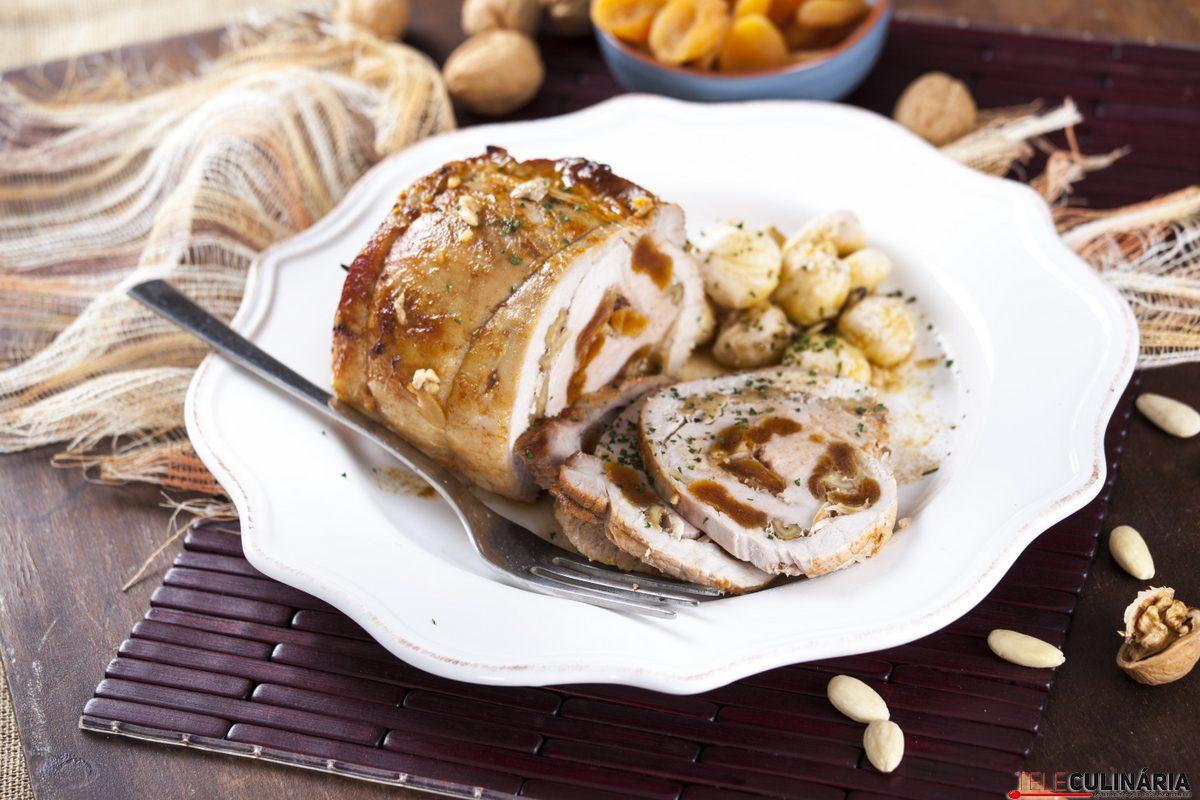 lombo de porco recheado com frutos secos