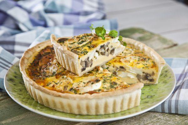 tarte de queijo de cabra com cogumelos