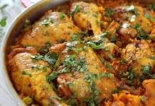 Frigideira de frango com arroz