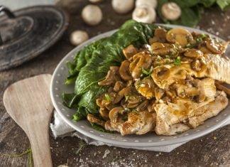 bifinhos de peru com cogumelos e nabicas