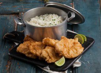 filetes de pescada com arroz de coentros