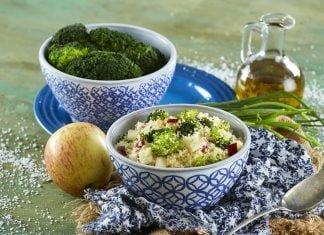 Couscus de Brócolos Nozes e Maçãs
