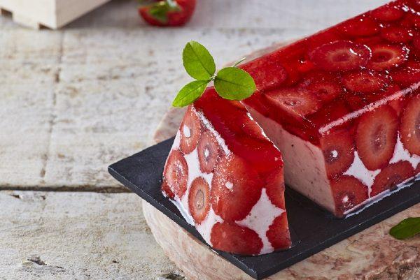 Delícia de morango e gelatina