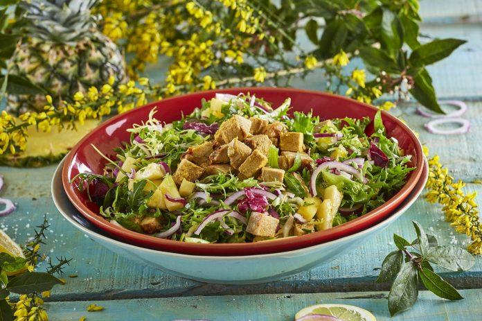 Salada de verão com porco
