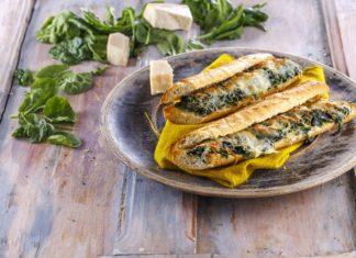 Baguete de limao e espinafres