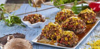 Cogumelos recheados com carne