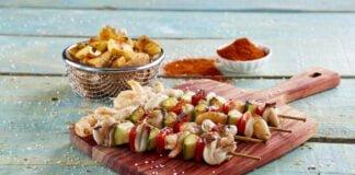Espetadas de lula com batatas campestres - @TeleCulinária