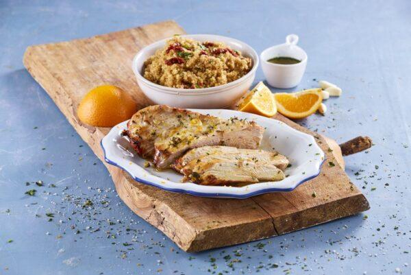 Peito de peru com ervas aromáticas e quinoa de tomate seco- Teleculinária