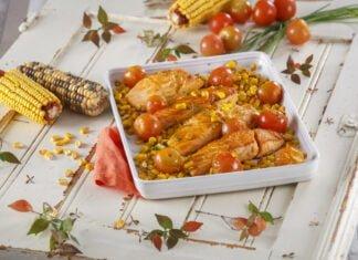 Salmão com milho e tomate - @TeleCulinária