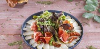 Carpaccio de pera presunto e tomate seco -@Teleculinaria