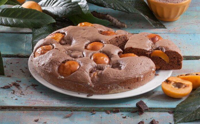 Bolo de chocolate e nêsperas