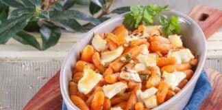 Cenouras assadas com queijo