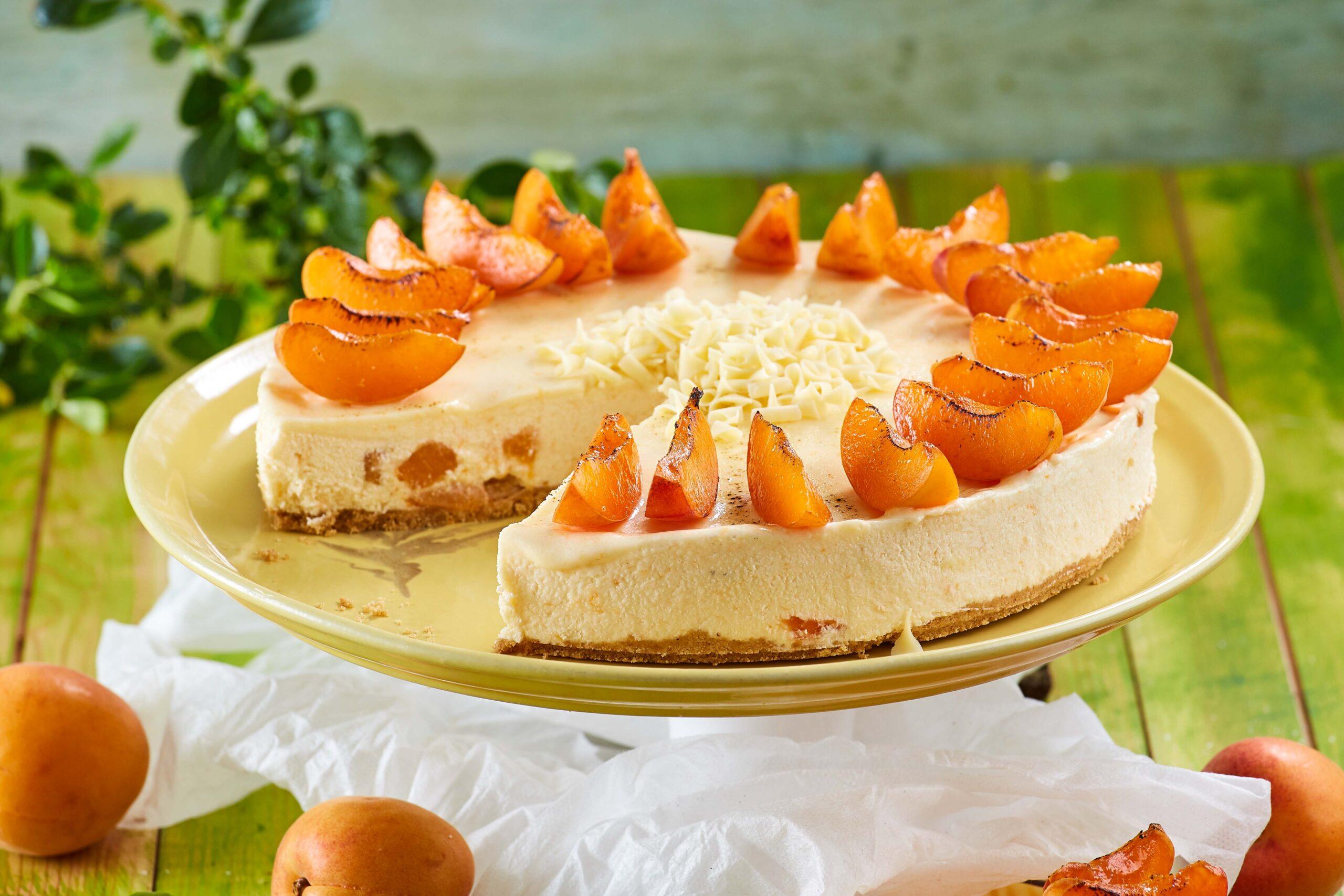 Receita da Teleculinária de cheesecake de chocolate branco com alperces