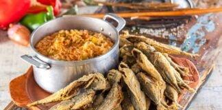 Jaquinzinhos com arroz malandrinho de pimentos