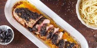 Lombinho de porco com crosta de azeitonas