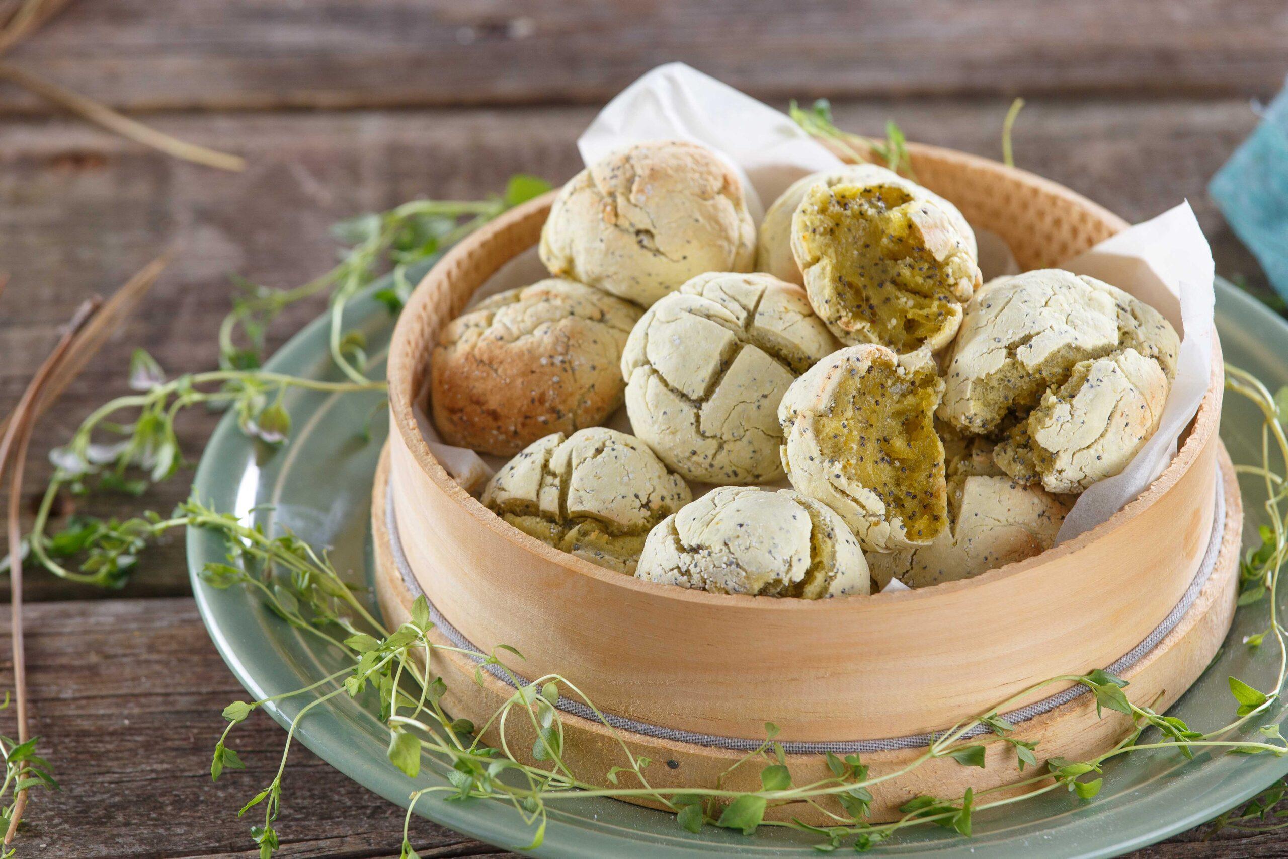 Pãezinhos de batata-doce e sementes de papoila