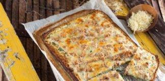 Piza de couve-flor com natas e atum