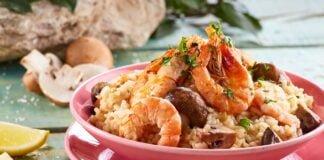 Risoto de camarão e cogumelos