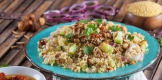 Salada de bulgur com amêndoas e figos secos