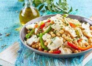 Salada fria de bacalhau com grão