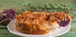 Tarte de batata-doce roxa e lentilhas