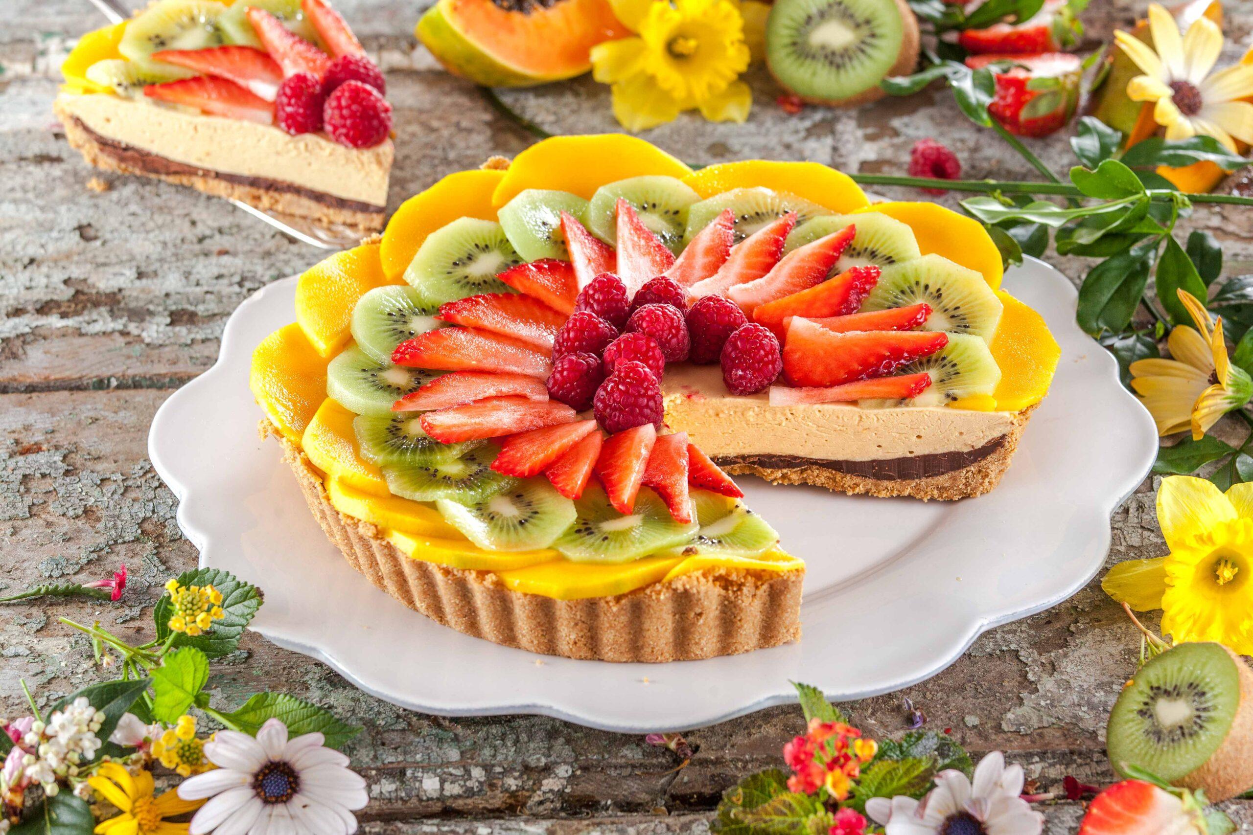 Tarte doce com fruta fresca